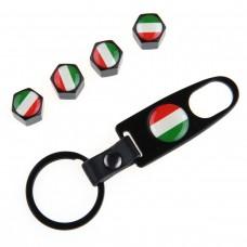 Venttiilihatut lippu Italia 4kpl + avainrengas