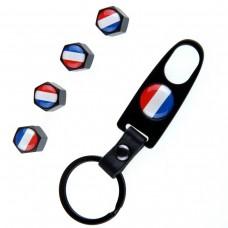Venttiilihatut lippu Ranska 4kpl + avainrengas