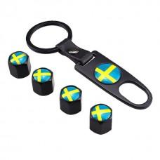 Venttiilihatut lippu Ruotsi 4kpl + avainrengas